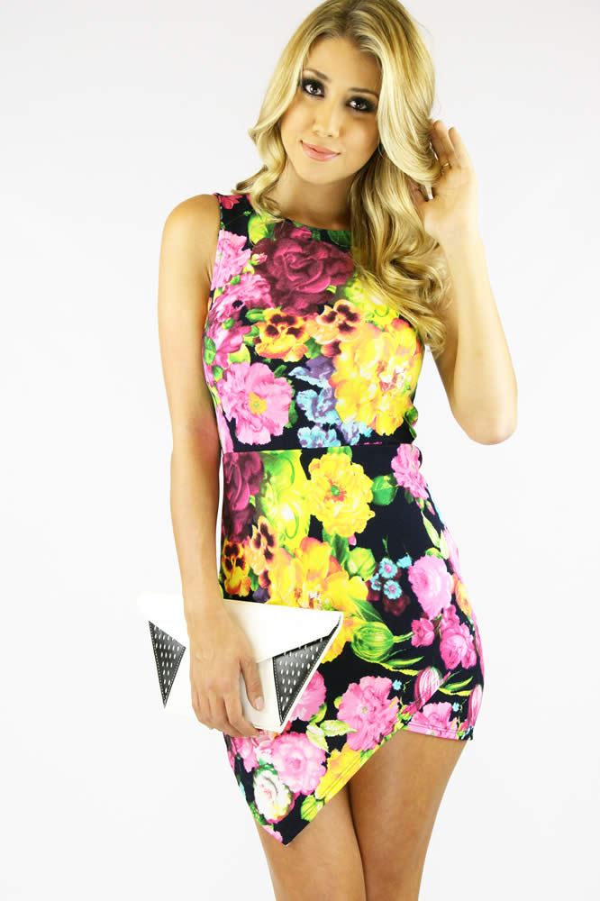 Multi Floral Dress - Asymmetrical Floral Bodycon Dress | UsTrendy