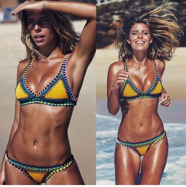 808f91aa0141b swimwear yellow black bikini yellow aztec triangle bikini swimwear  patchwork crochet knitwear multicolor boho bohemian bohemian