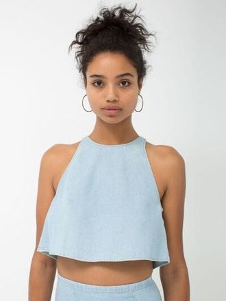 shirt baby blue crop tops tank top