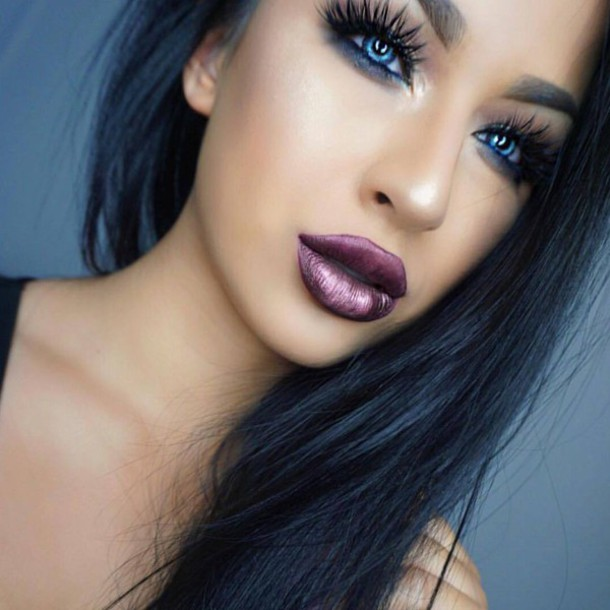 Eye Makeup Dark Purple Lipstick Vidalondon