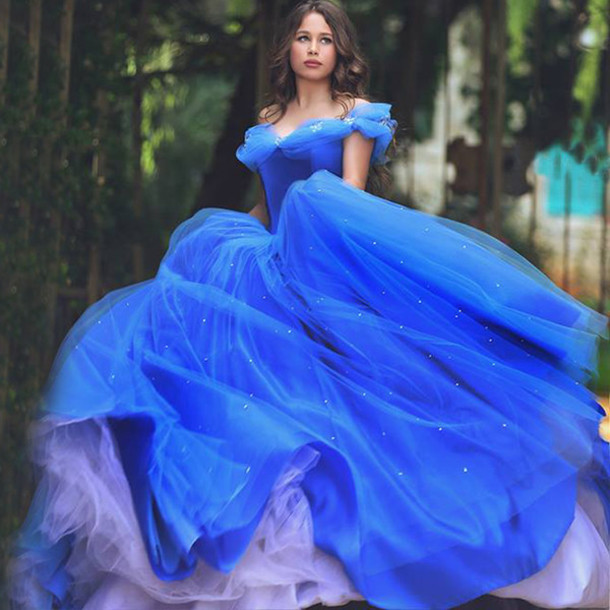 Dress Cc Bridal Cinderella Wedding Gown Plus Size Puffy Blue Tulle Princess