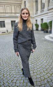 skirt,grey,fashion week 2016,olivia palermo,blogger,paris fashion week 2016,knitwear,turtleneck