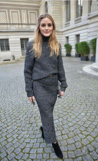 skirt grey fashion week 2016 olivia palermo blogger paris fashion week 2016 knitwear turtleneck