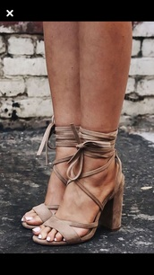 shoes,suede,heels,lace up,nude