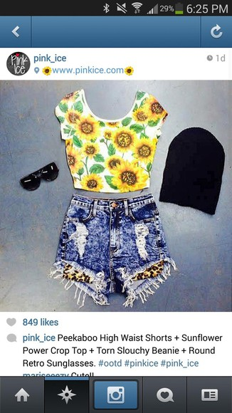 black sunglasses black sunnies sunglasses vintage sunnies shirt shorts acid washed shorts high waisted jeans high rise crop tops sunflower beanie