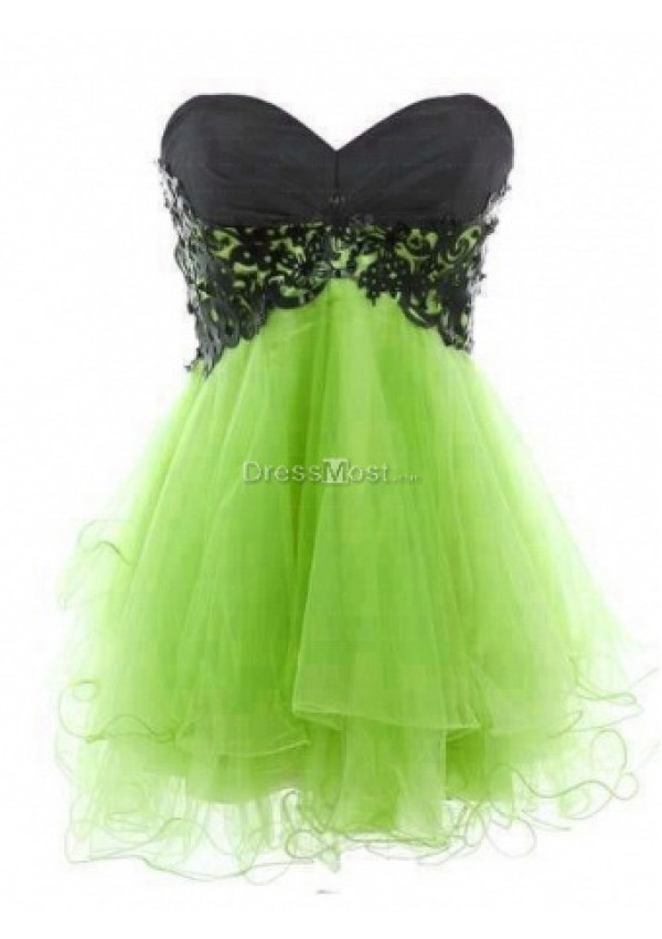 Graceful green organza applique sleeveless cocktail dress