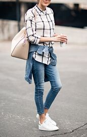 shoes,white plaid shirt,denim shirt,beige bag,skinny jeans,white adidas sneakers,blogger