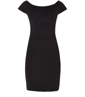 Black Bardot Neck Mini Bodycon Dress