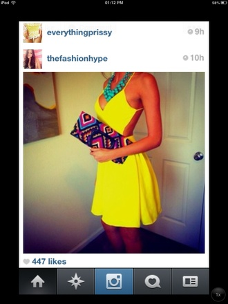 dress yellow yellow dress backless illuminous plunge v neck v neck bright summer neon short yellow backless dress aztec clutch big necklace bag yellow summer dress skater dress backless dress instagram pretty cute clothes graduation graduation dress yellow open back dress yellow\ any dress cut-out dress clubwear dinner dress dinnerware party dress special occasion dress occasion