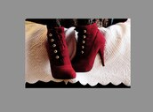 red shoes,ankle boots,shoes