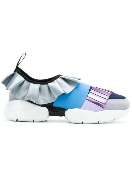 Emilio Pucci metallic ruffle women sneakers blue shoes