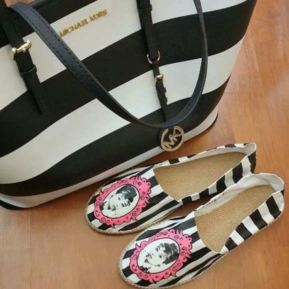 audrey hepburn shoes michael kors stripes espadrilles bag