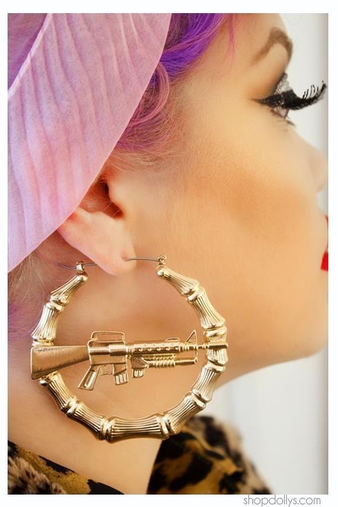 Bamboo Machine Gun Earrings