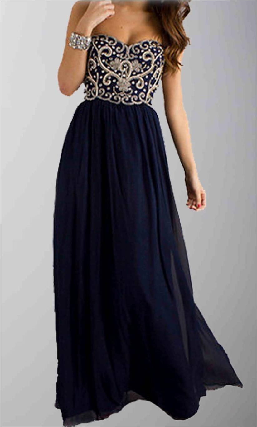 Dark Navy Blue Dazzling Embroidery Long Formal Dresses KSP285 ...