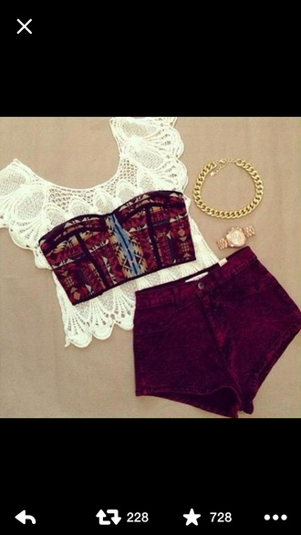 shirt fashion cute dress style girly summer top crop tops lace top bustier shorts