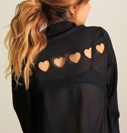 TINY HEARTS CUT OUT BLOUSE on The Hunt