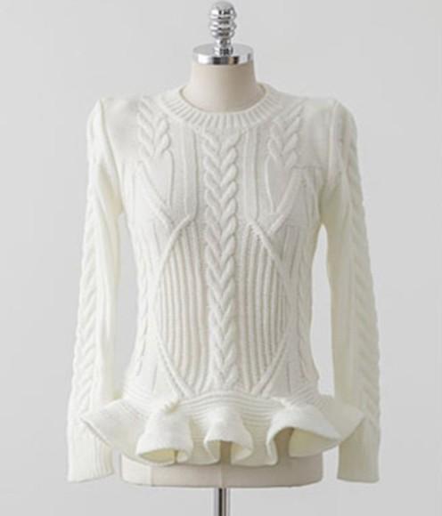white sweater ruffle