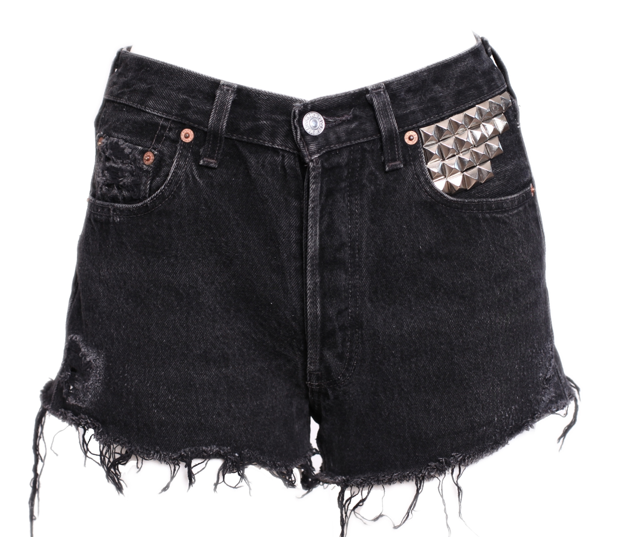TUCSON vintage used high waisted levis black studded denim shorts ...