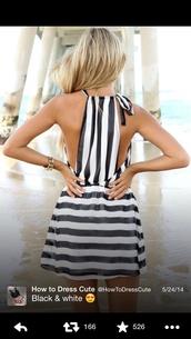 dress,stripes,black and white,summer,beach