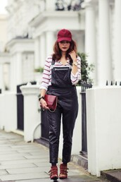 preppy fashionist,blogger,blouse,shoes,bag,jewels,susanna boots,cap,burgundy,overalls,dungarees,leather overalls,black overalls,red bag,striped top,stripes,ankle boots,red boots,chloe,buckles,buckle boots