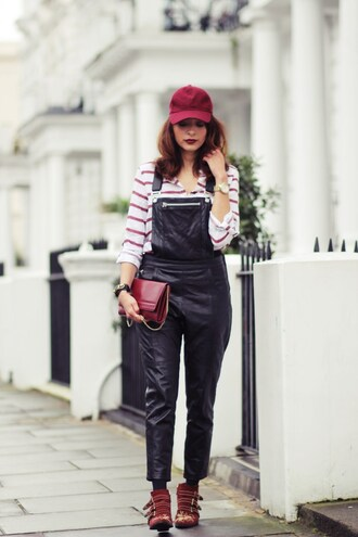 preppy fashionist blogger blouse shoes bag jewels susanna boots cap burgundy overalls dungarees leather overalls black overalls red bag striped top stripes ankle boots red boots chloe buckles buckle boots