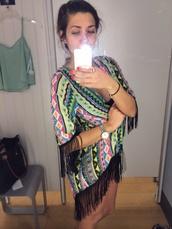 cardigan,kimono,cover up,aztec,fringes,fringe kimono,pattern