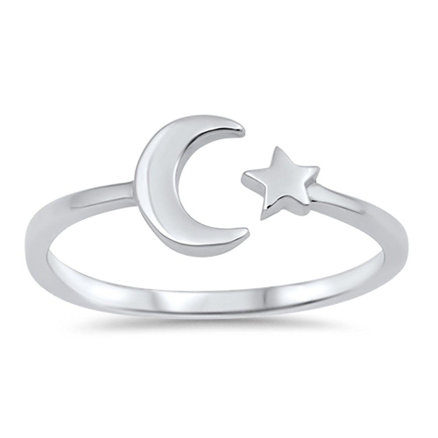 Amazon.com: CHOOSE YOUR COLOR Sterling Silver Moon Star Ring: Clothing