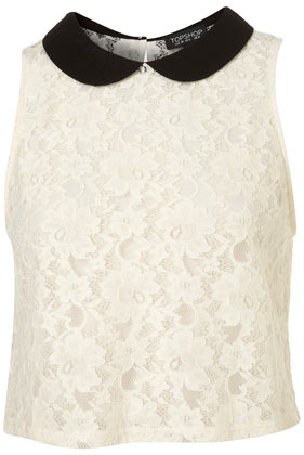 Ivory crop lace halter blouse