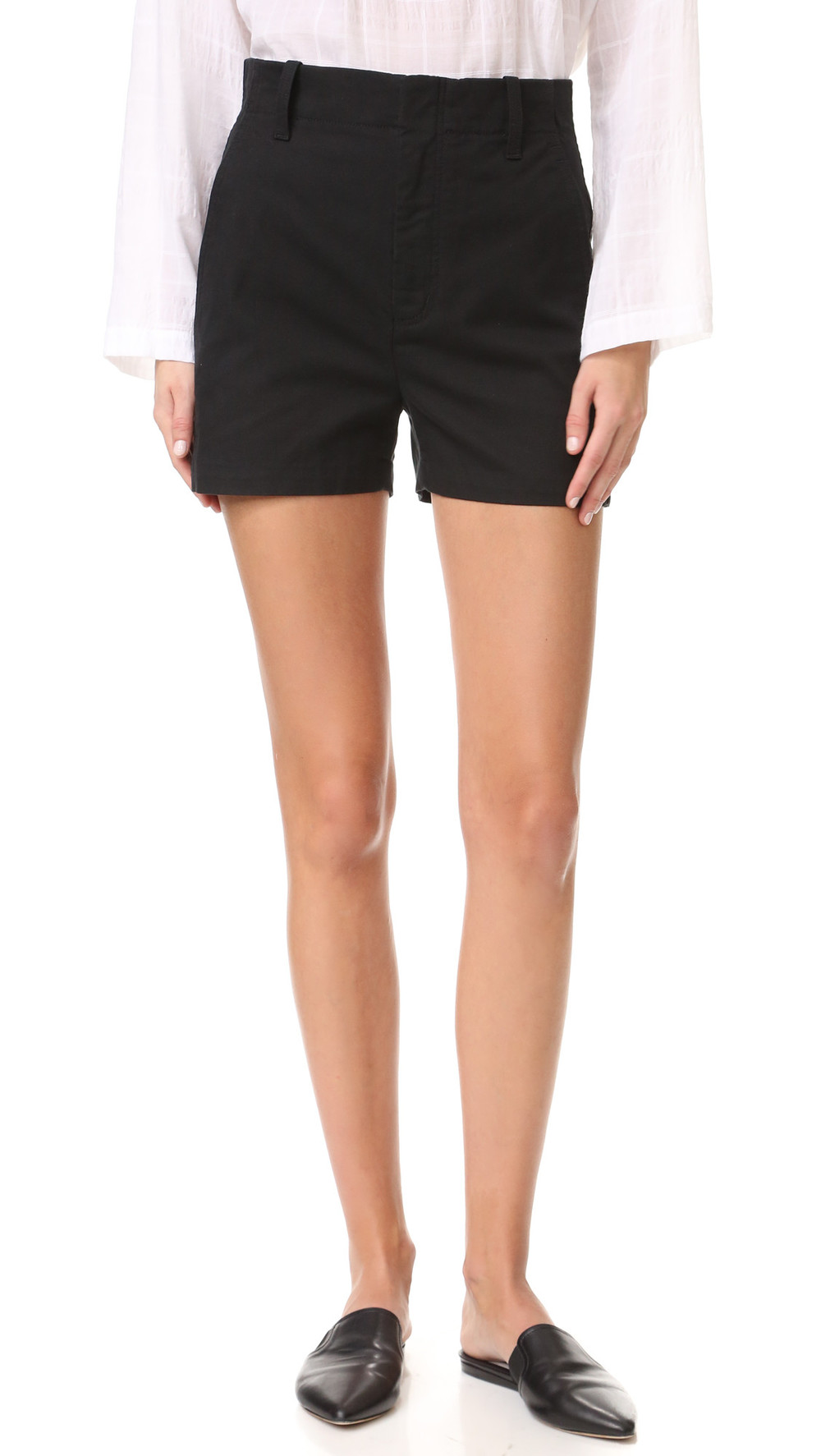 Vince - chino shorts - women - Cotton/Linen/Flax/Lyocell - 6, Nude ...