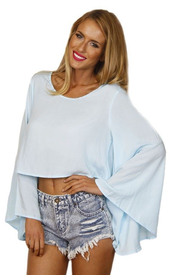 top baby blue top bell sleeves light blue top light blue crop uneven hem www.ustrendy.com