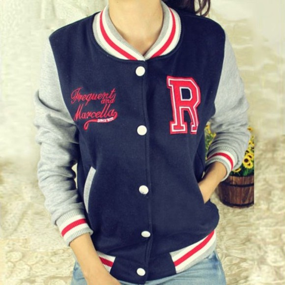 jacket blue grey hoodie red varsity varsity jacket
