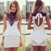 dress,white dress,black lace white dress peplum