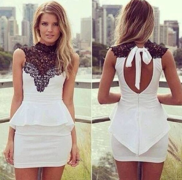 dress white dress black lace white dress peplum