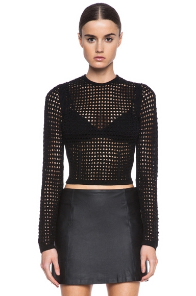 Alexander Wang Fitted Crochet Knit Pullover in Liquorice as seen on Kim Kardashian | Star Style Celebrity Fashion