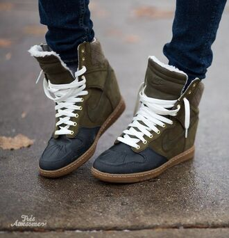 shoes nike high tops olive green sneakers bag