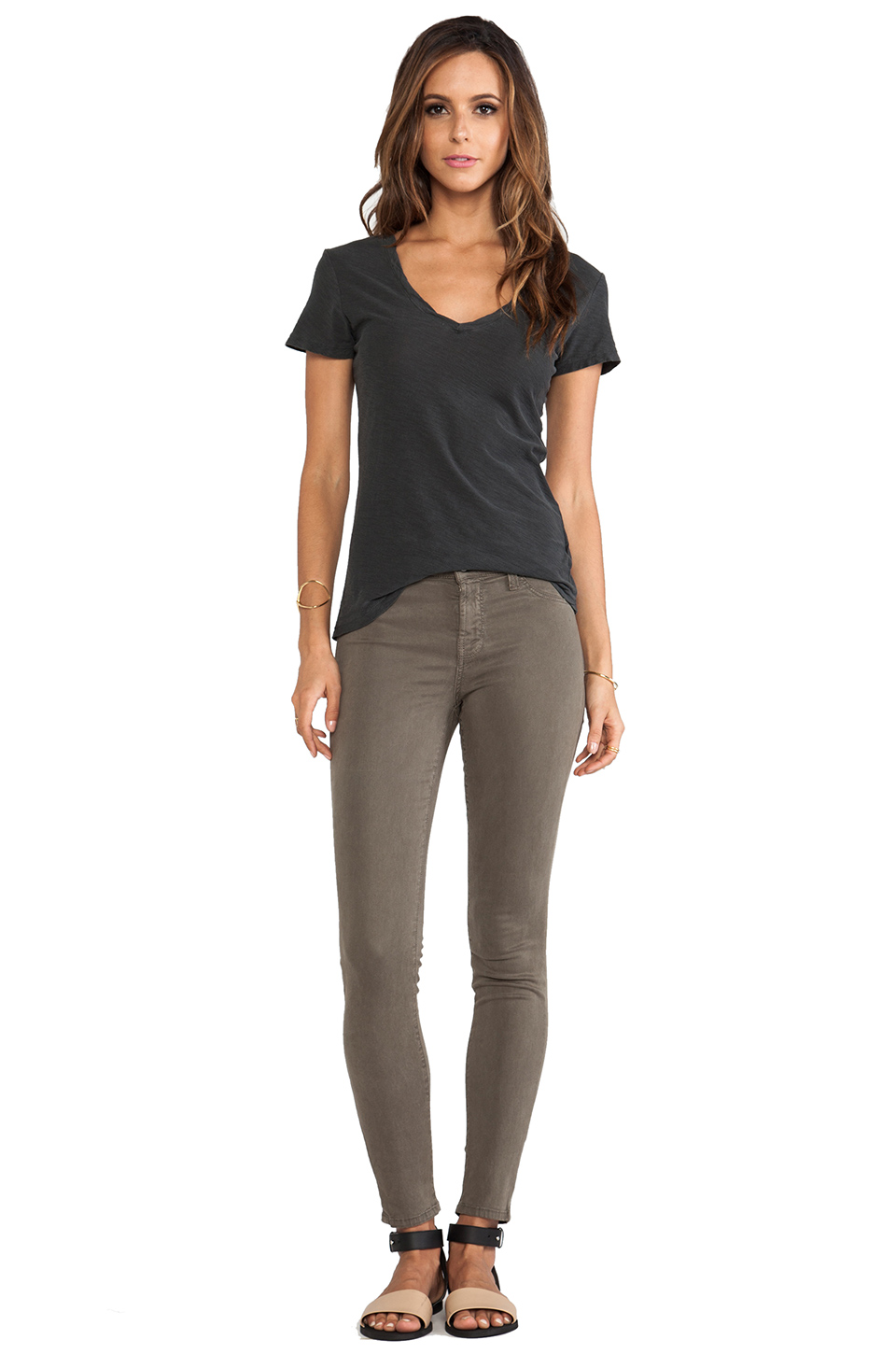 James Perse Casual Tee w/ Reverse Binding in Carbon | REVOLVE