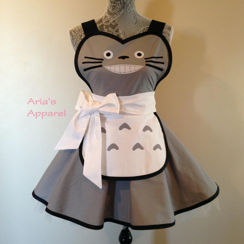 White apron for costume - Totoro Retro Apron Cosplay Costume Costume Apron Womens Apron Totoro Costume