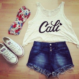shirt high waisted shorts cali bandeau converse denim shorts california quote on it