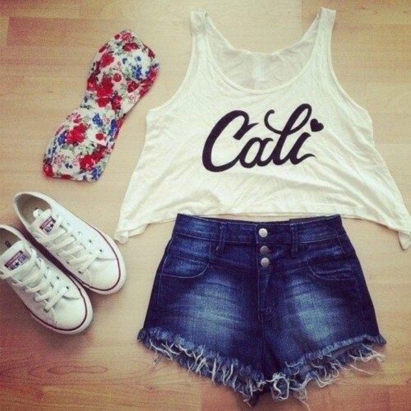 shirt cali bandeau High waisted shorts converse denim shorts california quote on it