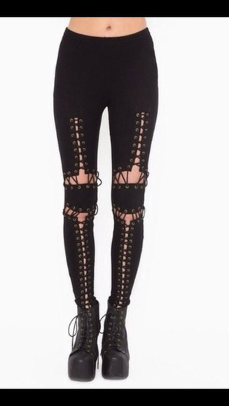 pants leggings legging black black leggings corset corset legging corset leggings lace up lace up leggings vintage rocker black lace up right leggings garter leggings