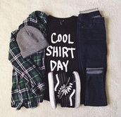 t-shirt,blouse,shirt,flannel,jeans,shoes,vans,beanie,quote on it,cool,black,white,grey,green,graphic tee,tumblr outfit,outfit,black t-shirt,converse,cute,cotton,grunge,black and white,hipster,boho,indie,street