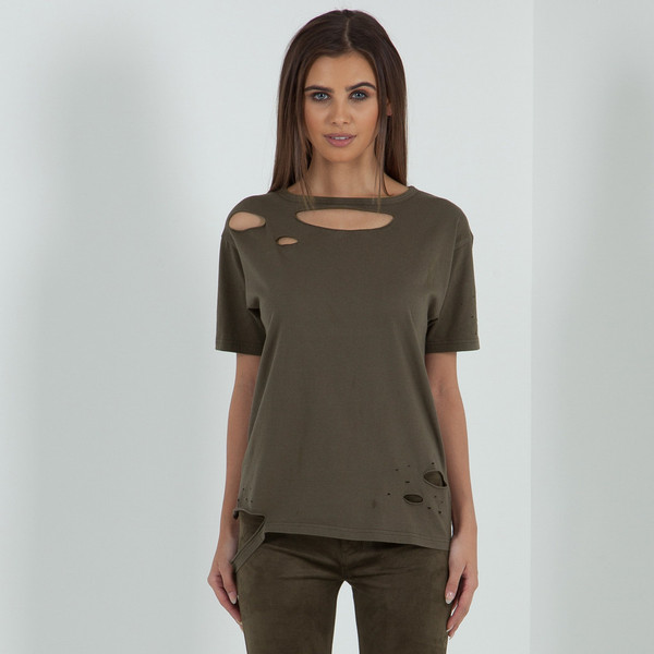 39 the squad 39 distressed t shirt khaki for How to make a distressed shirt