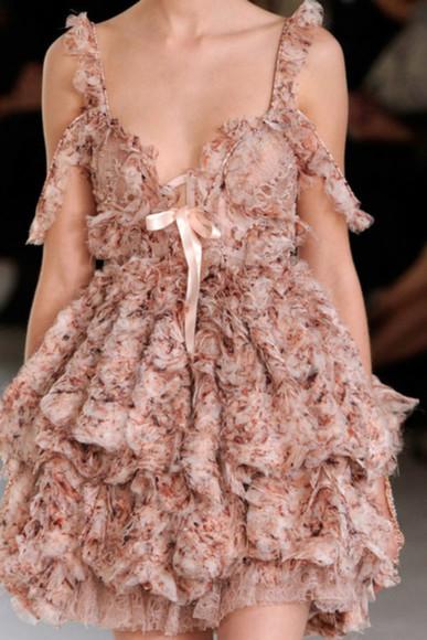 pink chiffon dress runway designer pink pink dress prom dress floral floral dress chiffon alexander mcqueen