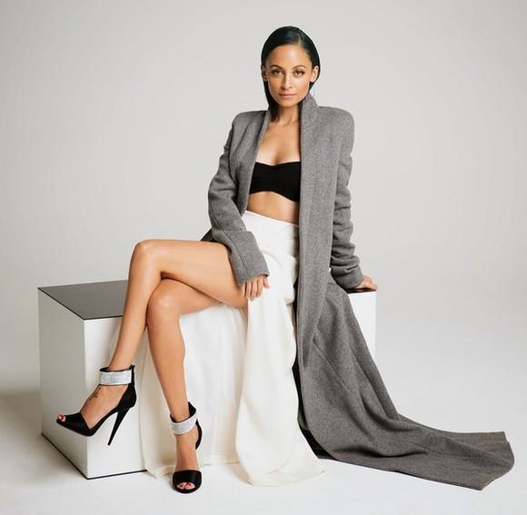 nicole richie coat top grey skirt sandals bra grey coat