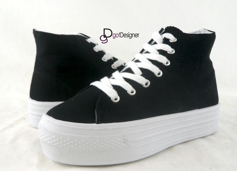 New Womens Fashion Comfort Platform Sneakers Boots Sport Shoes High Top Lace Up | eBay