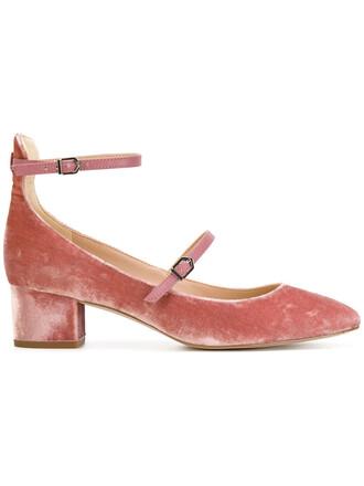 women pumps leather velvet purple pink shoes