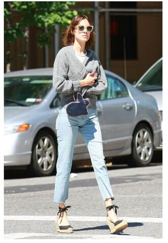 jeans wedges espadrilles alexa chung cardigan wedge sandals straight jeans