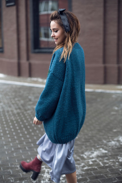 Sweater: tumblr, blue sweater, oversized sweater, oversized, hair ...
