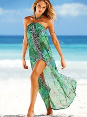dress,swimwear,victoria's secret,candice swanepoel,green dress,leapord print,gold bracelet