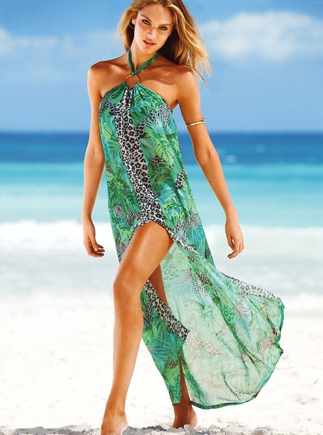 dress swimwear victoria's secret candice swanepoel green dress leapord print gold bracelet victoria's secret